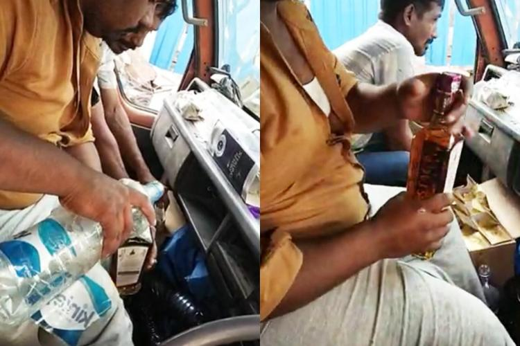A man adulterates a sealed liquor bottle with water while sitting inside a DCM van