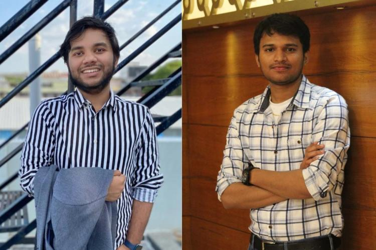 Memers Anurag and Vikas standing and posing for a picture in blue and white costumes