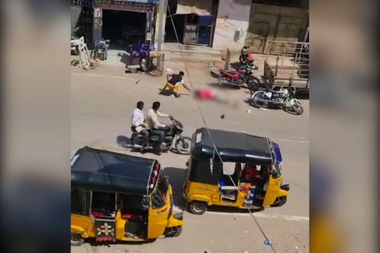 A screengrab from the video of the man being hacked to death in Hyderabad