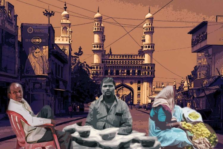 A collage of Charminar in the background and poor people