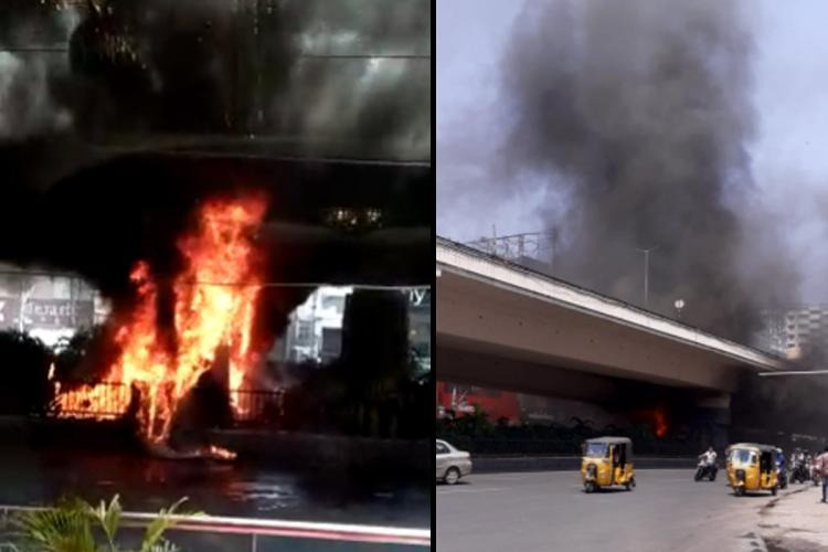 A collage of the Hyderabads Punjagutta flyover pillar on fire and visuals of smoke from the flyover