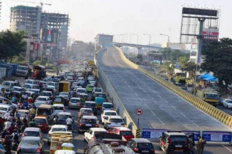 File photo of traffic in Hyderabad only on one side of the road