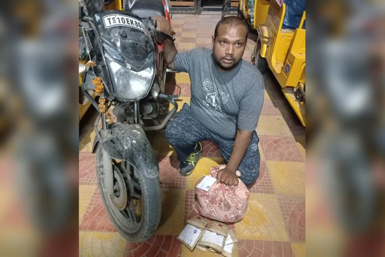 Photo of Motilal Narsing Balaji Singh with the seized drugs