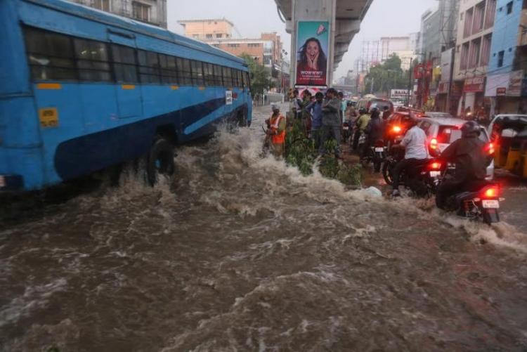 Inundated streets and traffic jams as rains batter Hyderabad