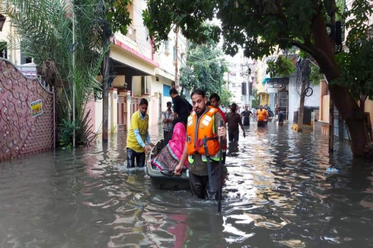 An NDRF rescue team coming to the aid of people stranded in Hyderabad floods