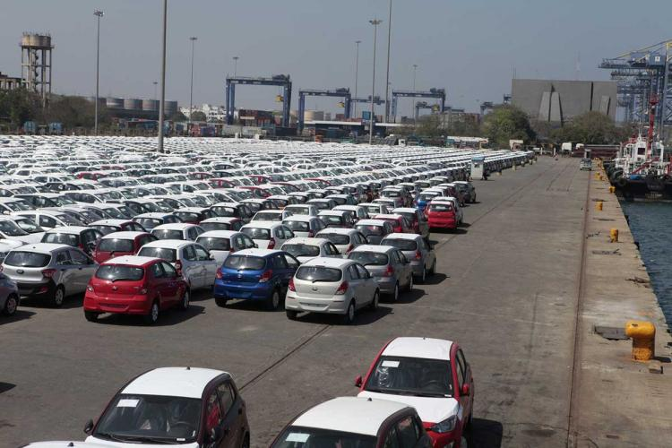 Hyundai Brand New Cars Parked In Line Imported By The Port Area