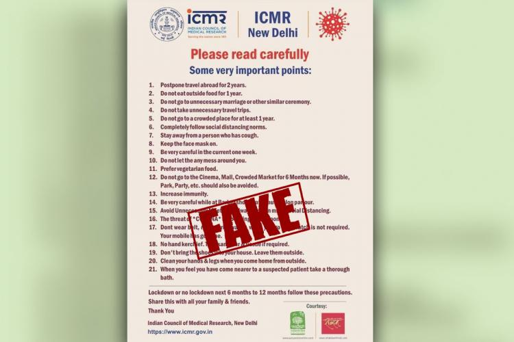Fake COVID-19 advisory with maroon text against light pink background