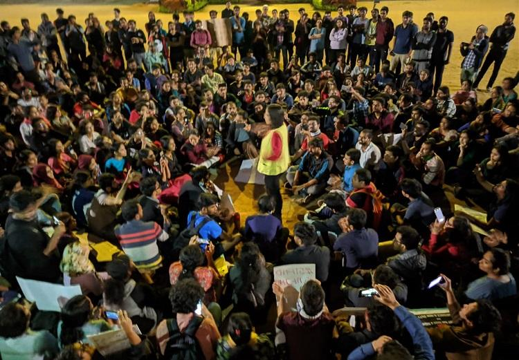 Protests held at university campuses across Bengaluru condemning violence at JNU