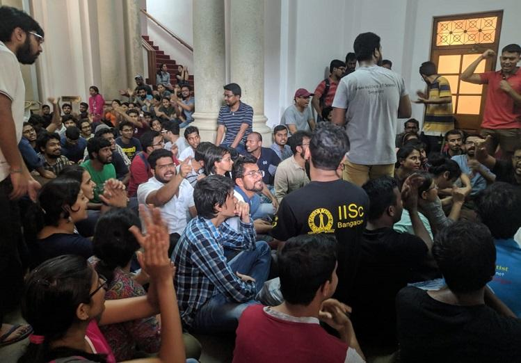 IISc Bengaluru students protest demand justice for security guard who died on campus