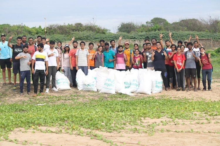 IIT-Madras students collect over 15 sacks of trash from 500m stretch of Elliots beach