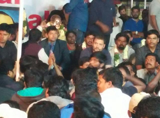 Images Rahul Gandhi at midnight candle light vigil on Rohiths birthday to sit on hunger strike today