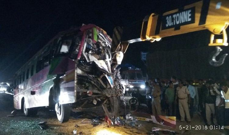Late night collision between bus and lorry leaves 7 dead 20 injured in Tumakuru