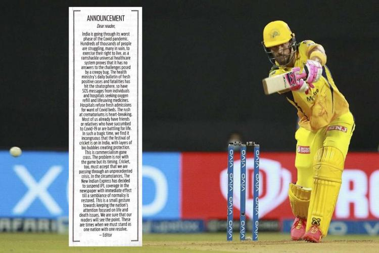 The letter issued by TNIE over a picture of a Chennai Super Kings batsman playing a shot during IPL 2021
