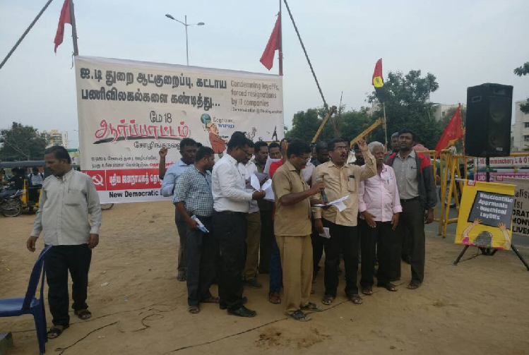 Worked with an IT major for 15 yrs sacked without notice Techies protest in Chennai
