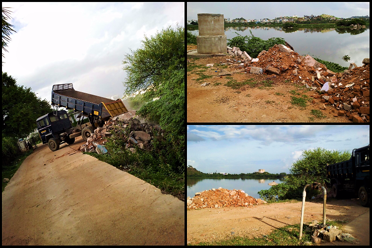 Illegal dumping Pictures show how Hyderabads Ibrahim lake is being slowly killed