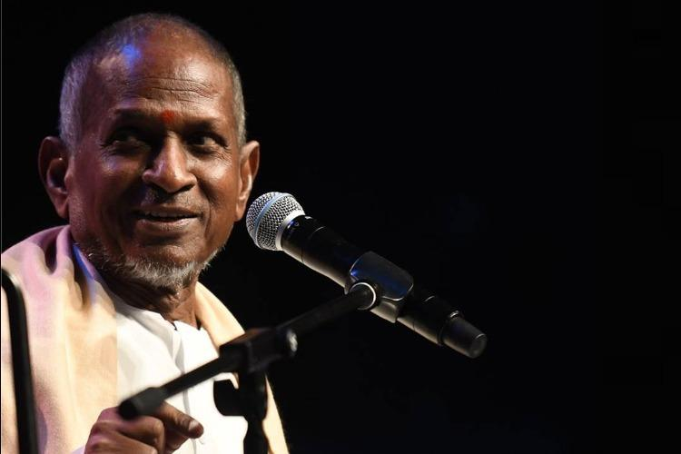 Music director Ilaiyaraaja talking over the mike at a concert