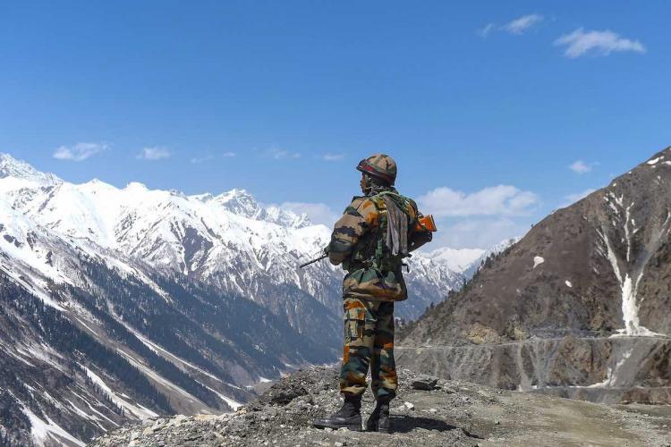 An Army Jawan on border vigil at Ladakh