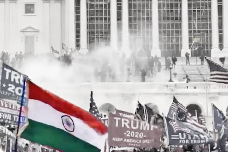 Indian flag highlighted against the backdrop of the Capitol Hill attack in the United States