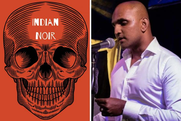 On the left is the picture of skull in red and on the right is a man in a red shirt and clean shaven head speaking into a mic