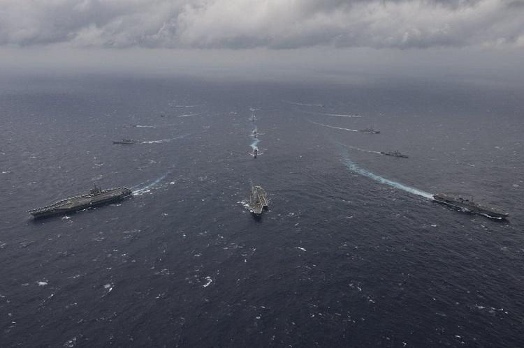 Ships of India US Japan manoeuvre in rough sea for Malabar