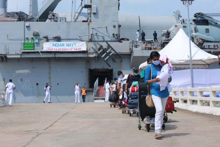 698 Indians stranded in Maldives reach Kochi port onboard Indian Navys INS Jalashwa