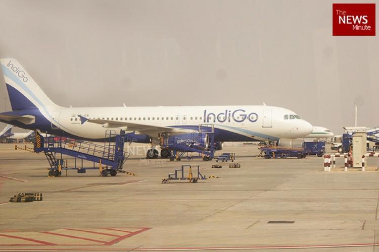 An IndiGo flight on the tarmac with cargo vehicles around