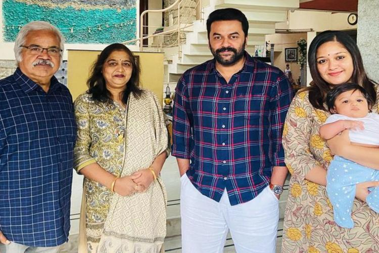 Indrajith is seen in a group photo alongside Meghna Raj Jr Chiru and Meghnas parents
