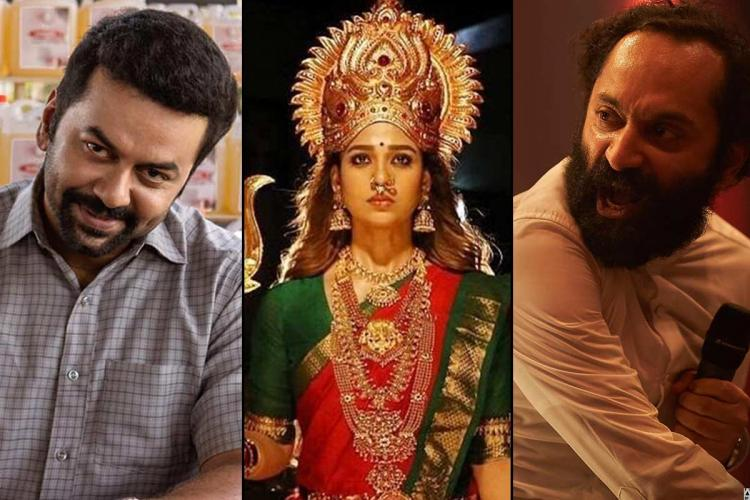 Collage of actors Indrajith from Halal Love Story Nayanthara from Mookuthi Amman and Fahadh Faasil from Trance