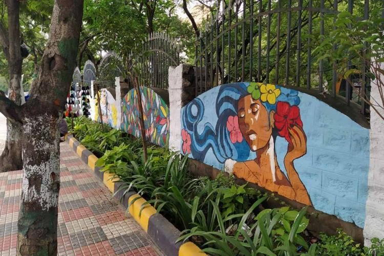 Walls of JNFAU along Masabtank of Hyderabad featuring the works of students