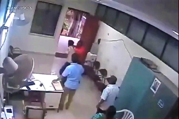 Video JNTU prof attacks security guard over parking scuffle caught on camera