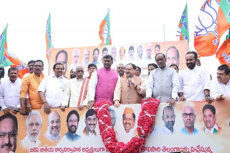 Telangana govt not spending Centres funds BJP leader Nadda hits out at CM KCR