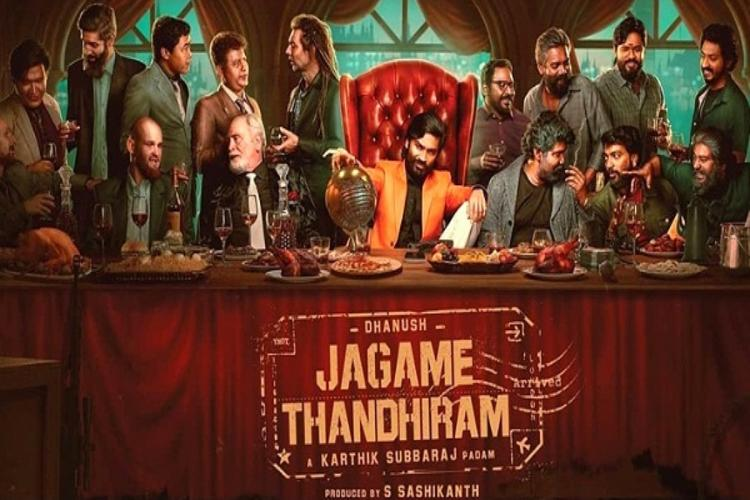 Actor Dhanush and others in a poster of Jagame Thandhiram