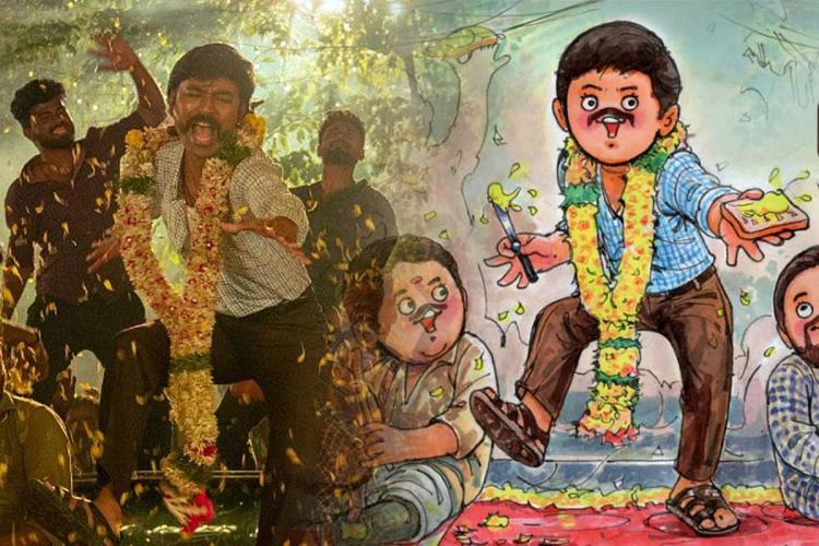 A screengrab from Jagame Thandhiram on the left and Amul ad featuring Dhanush on the right