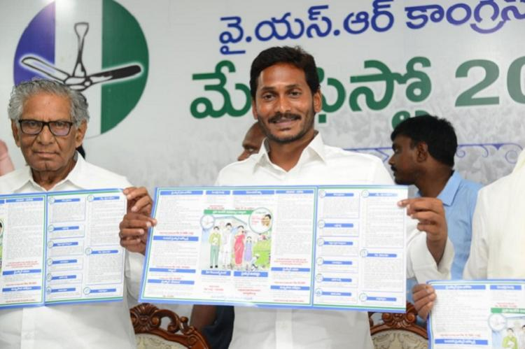 Jagan releases YSRCP manifesto for AP A mix of populist schemes and tall promises