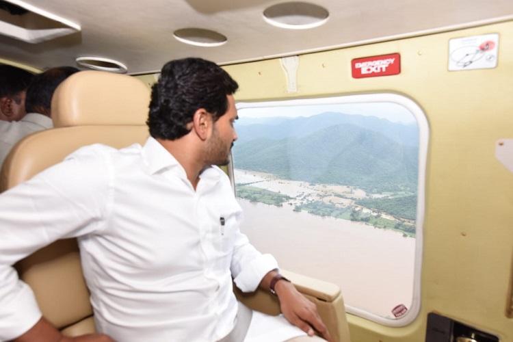 Andhra CM Jagan conducts aerial survey of flood-hit areas along Godavari