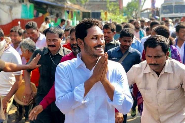 Jagan Mohan Reddy dressed in white during a padayatra in Andhra before elections