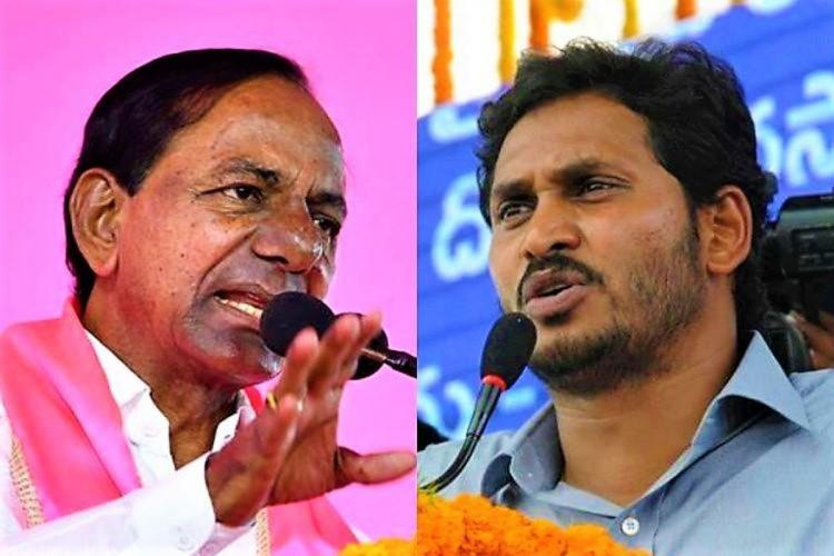Collage of Telangana CM KCR on the left and Andhra Pradesh CM Jagan Mohan Reddy on the right
