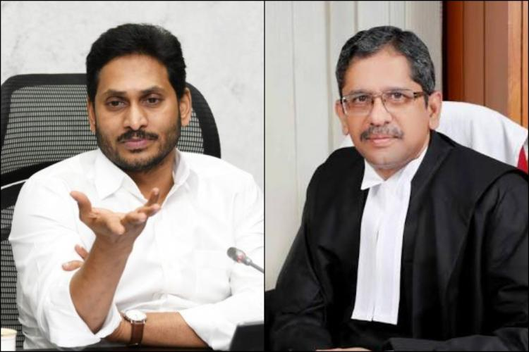 Collage of Andhra Pradesh Chief Minister Jagan raising his hand in a questioning gesture on the left and Supreme Court Judge N V Ramana in black robe on the right