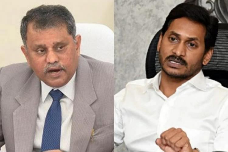 Andhra State Election Commissioner N Ramesh Kumar on left and Chief Minister Jagan on right