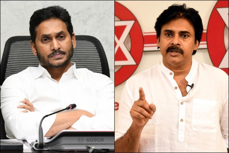 Collage of Andhra Pradesh CM and YSRCP chief YS Jagan Mohan Reddy and Jana Sena Party chief Pawan Kalyan