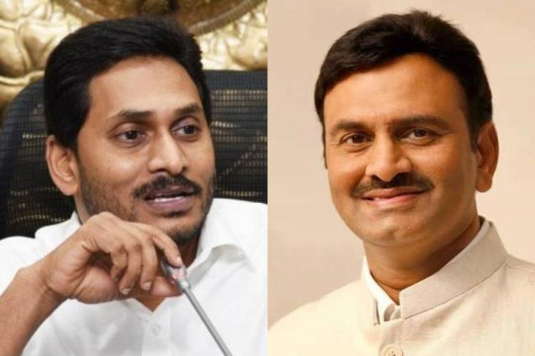 Andhra Pradesh Chief Minister Jagan on the left and Narasapuram MP Raghu Rama Krishna Raju and the right