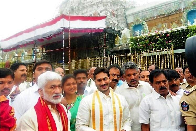 Ahead of padayatra across Andhra YSRCP chief Jagan visits Tirumala