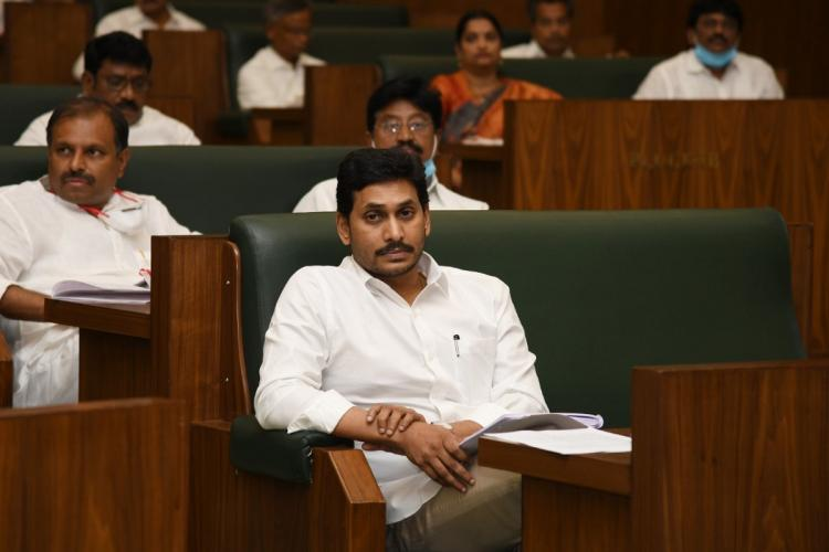 Chief Minister Jagan Mohan listening to a discussion in the Assembly