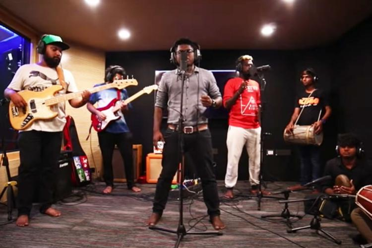 Arivu and others singing in Jaibhim song by The Casteless Collective