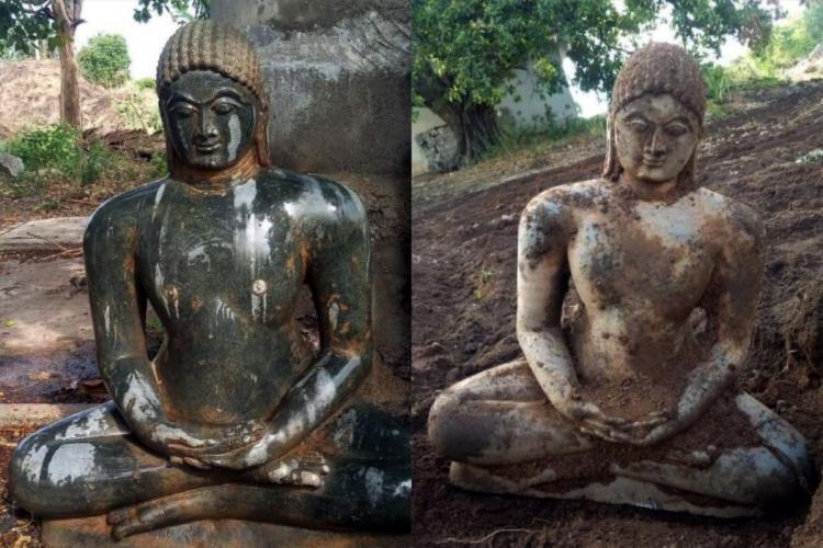 The Jain monk statue unearthed in Kotlanarsimhulapalli of Telanganas Karimnagar