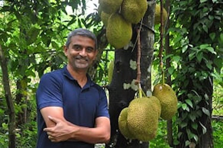 James Joseph posing in a blue t-shirt next to a Jackfruit tree