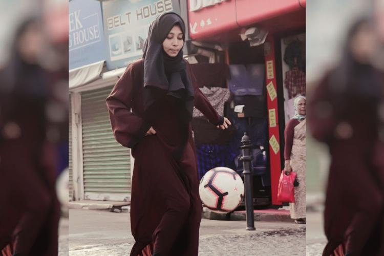 Collage of hijab wearing girl kicking football