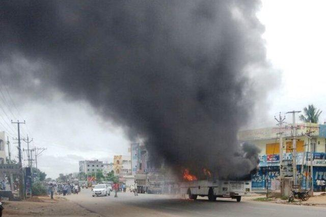 Demand for separate district in Tgana turns violent RTC bus police jeep torched