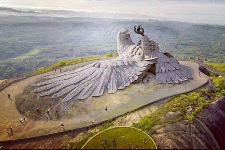 Now you can see the worlds largest bird sculpture from the sky in Kerala