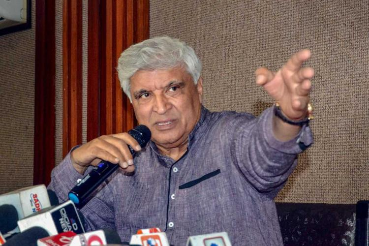 FIle image of Lyricist and screenwriter Javed Akhtar addressing the media